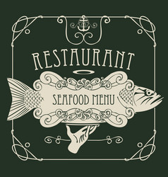 seafood menu with hand tray fish anchor rope vector image vector image