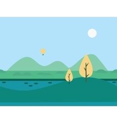Seamless cartoon nature river landscape vector