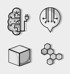 Set artificial intelligence technology vector
