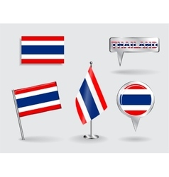 Set of thailand pin icon and map pointer flags vector