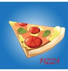 Slice of pizza Margherita vector image vector image