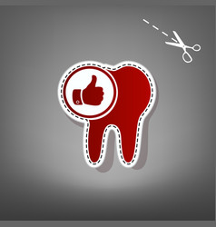 Tooth sign with thumbs up symbol red icon vector