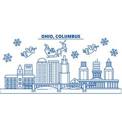 Usa ohio columbus winter city skyline merry vector