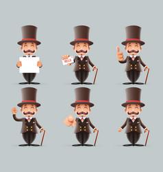 victorian gentleman business cartoon characters vector image vector image