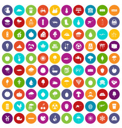 100 fruit icons set color vector
