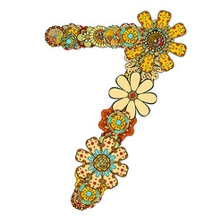 Hand drawn floral number 7 vector