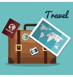 Travel suitcase map passport design vector