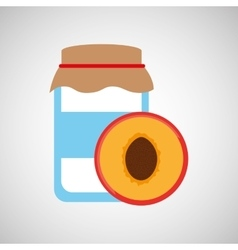 Jar cute blue peach with jam graphic vector