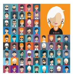 Set of people icons in flat style with faces 17 a vector