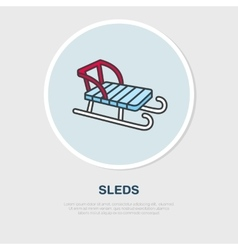 Thin line icon of sled winter recreation vector