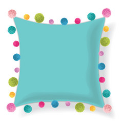 Blue pillow decorated with colorful vector