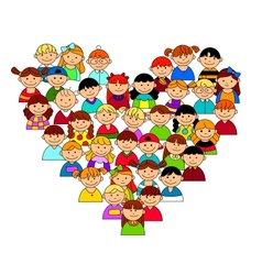 Heart shape with boys and girls vector