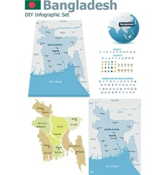 Bangladesh maps with markers vector