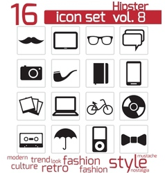 Hipster icon set vector image