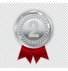 Champion art silver medal with red ribbon icon vector