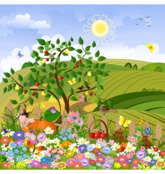 Rural landscape with a fence vector