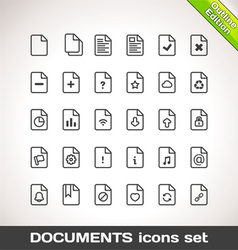 Documents icon set outline vector