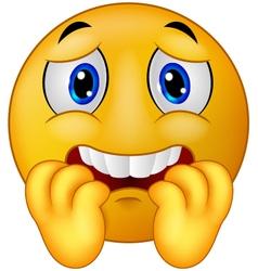 Scared emoticon smiley vector image