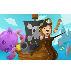 Lion Pirate Adventure Fantasy Cartoon vector image