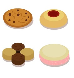 Isometric small cookies vector