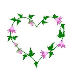 Campanula rotundifolia flowers in a heart shape vector