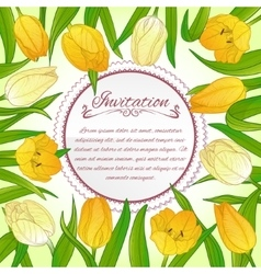 Floral card with tulips on background vector