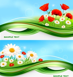 nature banners with flowers vector image