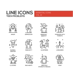 Teen problems- line design icons set vector