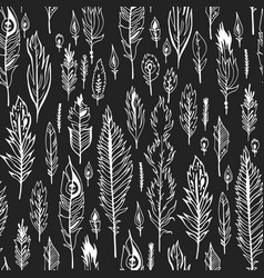 black boho feather seamless pattern vector image vector image