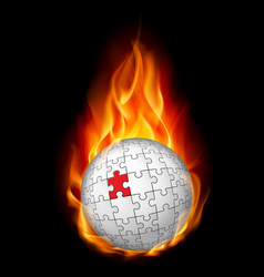 Burning puzzle sphere on black background vector