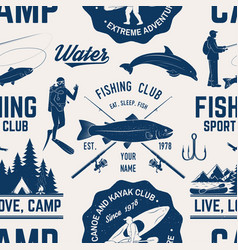 Canoe kayak and fishing club seamless pattern vector