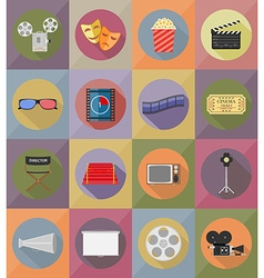 cinema flat icons 20 vector image