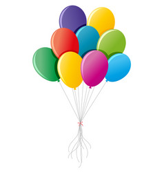 colorful balloons tied up together vector image