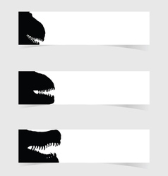 Dinosaurus head with white banner set one vector