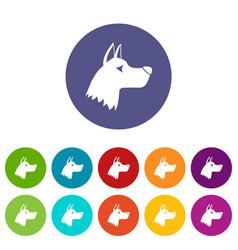 Doberman dog set icons vector