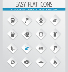fire brigade icons set vector image vector image