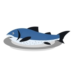 Fish on plate icon vector