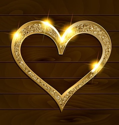 gold frame heart on wooden background vector image