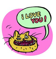 i love you cartoon cat head vector image vector image