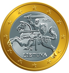 lithuanian euro gold money coin vector image vector image