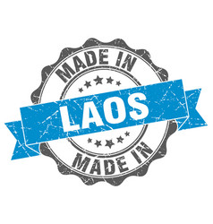 Made in laos round seal vector