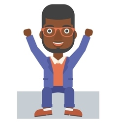 Man sitting with raised hands up vector