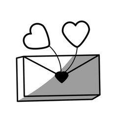 Message mail romantic heart balloon vector