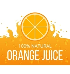 Natural orange juice label template vector image vector image