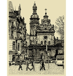 Original sketchy handmade drawing of lviv vector