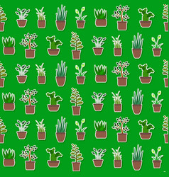 seamless pattern with house plants icons vector image