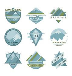 Set mountain adventure outdoor camp logo badges vector