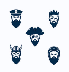 set of men face silhouettes bearded faces vector image