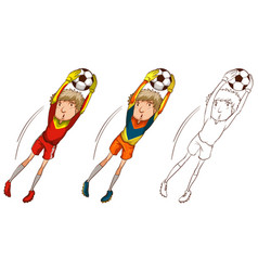 Soccer player in three different drawing styles vector