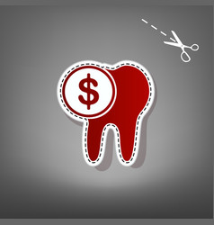 The cost of tooth treatment sign red icon vector